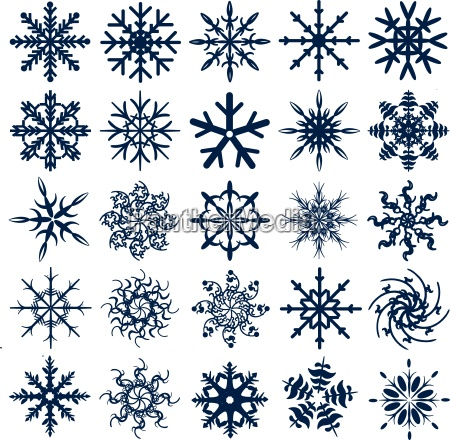 blue vector snowflake collection