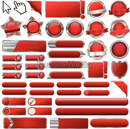 collection of red glossy vector eps10