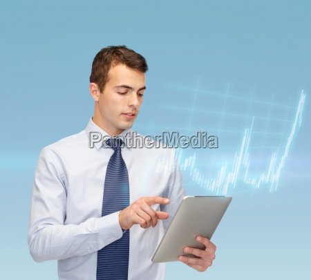 buisnessman with tablet pc and forex