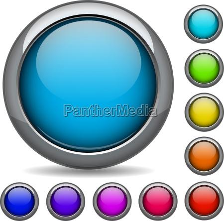 realistic 3d button set