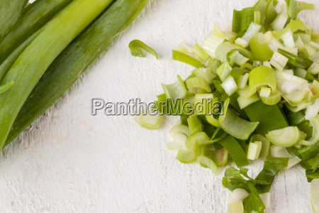 leek spring onions with root as