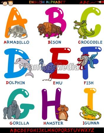 cartoon englisch alphabet mit tieren