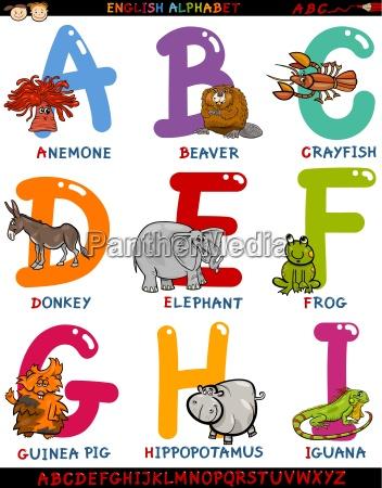 cartoon english alphabet with animals