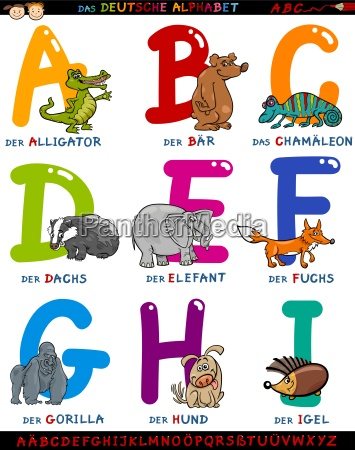 cartoon deutsches alphabet mit tieren