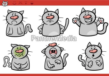 cat emotions cartoon illustration set
