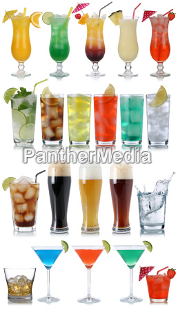 set von getraenke cocktails cola bier