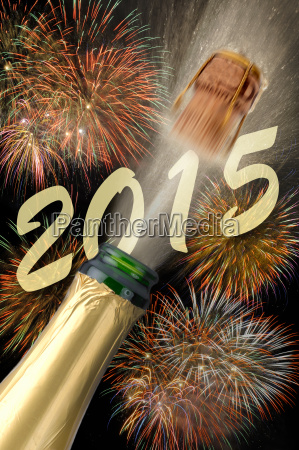 champagne and fireworks at new year