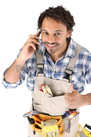 carpenter receiving good news over the