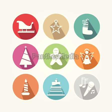 set of christmas icons with the