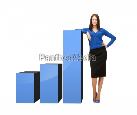 businesswoman leaning on big 3d chart