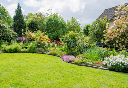garden with lawn in spring