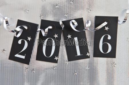 2016 auf silber hintergrund