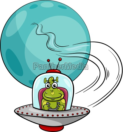 alien in ufo cartoon abbildung