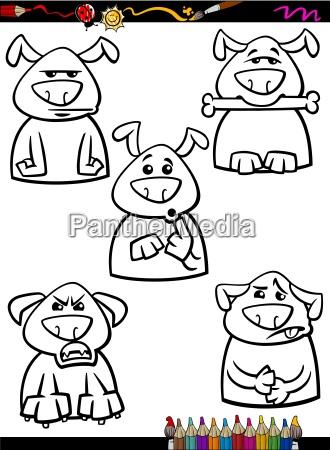 hund emotion set cartoon faerbung seite