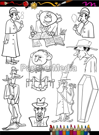 retro menschen set cartoon malvorlagen