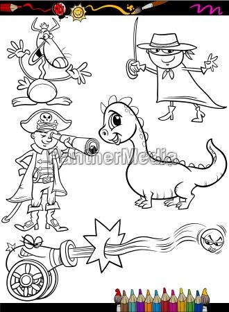 fantasy set cartoon coloring page