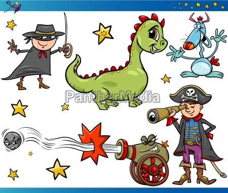 cartoon fantasy characters set