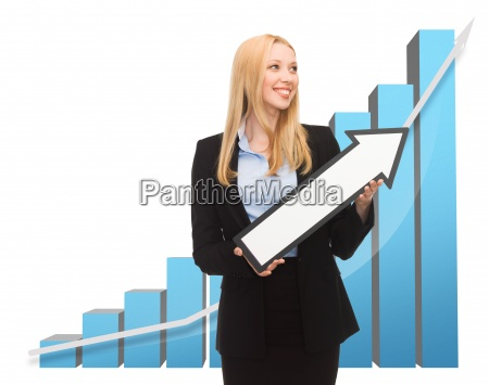 businesswoman with rising graph and arrow