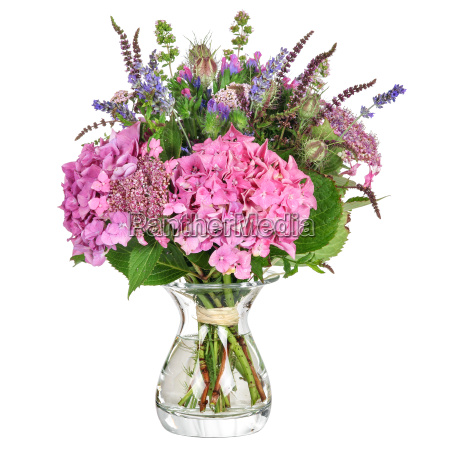 bouquet with herbs and hydrangea