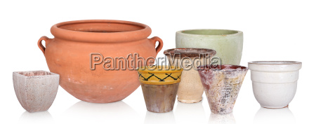 different flowerpots isolated