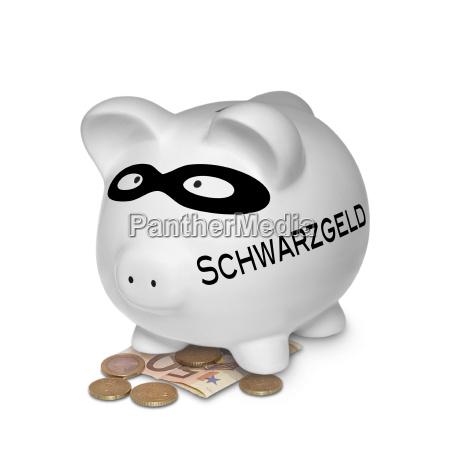 sparschwein mit schwarzgeld isoliert auf weissem