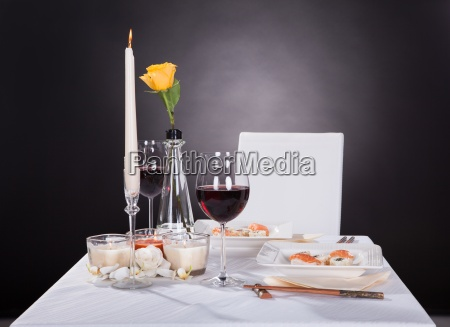 portrait of oriented food on decorated