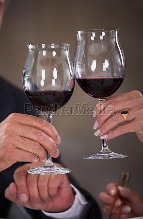 mature couple toasting wine