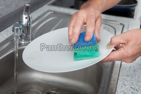 close up of washing plate