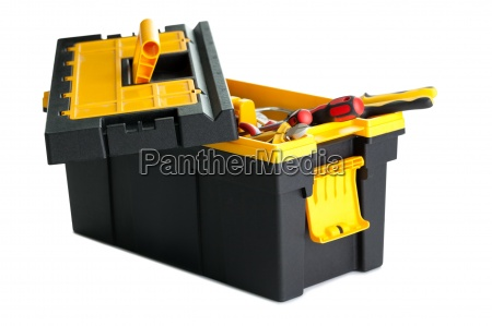 toolbox with tools on white background