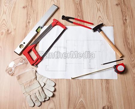carpenter tools und bauplan