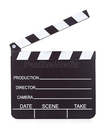 movie production clapper board auf weissem