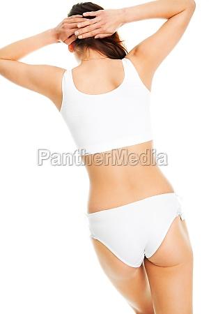 beautiful woman body in white cotton