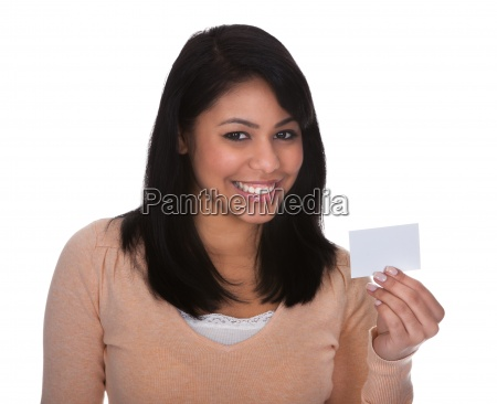 young woman showing visiting card