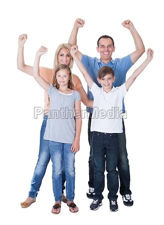 portrait of happy family on white