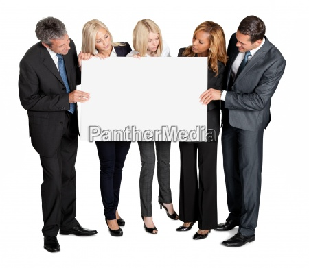 business people looking at blank board