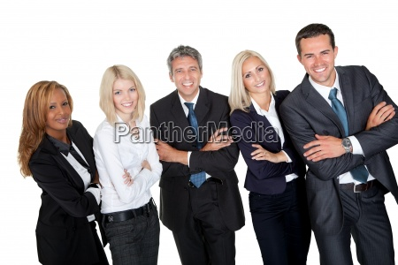 business people standing with hands folded
