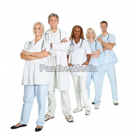 diverse group of doctors isolated on