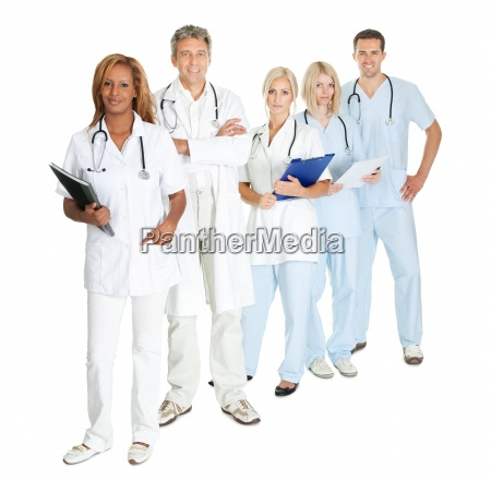 group of doctors and surgeons isolated