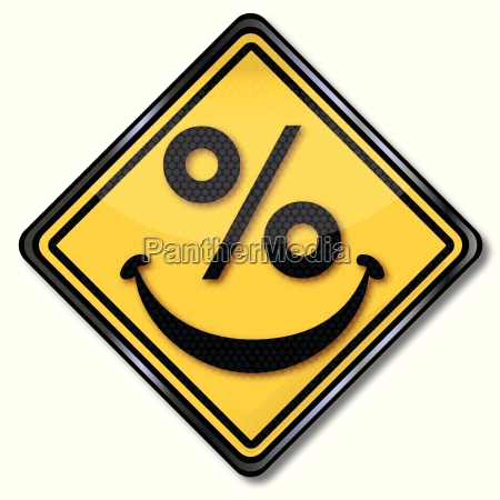 sign with laughing percent face