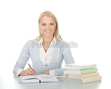 schoene student maedchen hausaufgaben