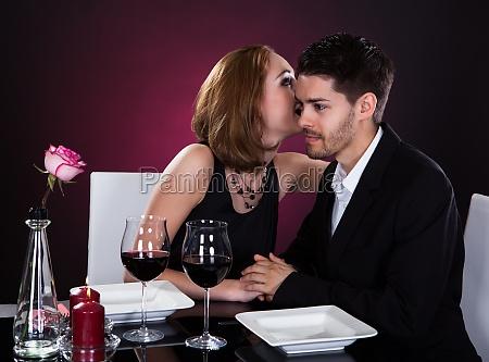happy couple in restaurant