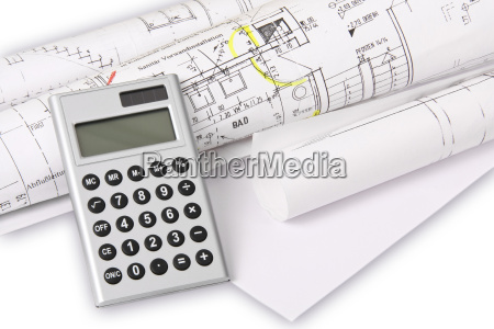 calculator with architects plans