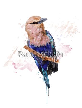 aquarell bild der blauen aufgeblaehten rolle