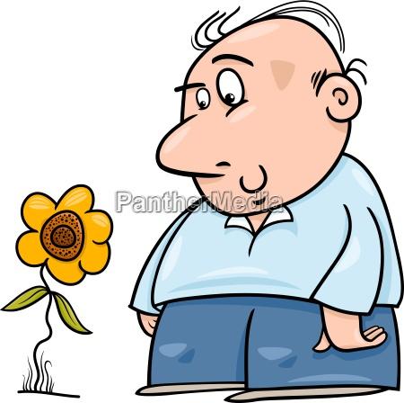 man with sunflower cartoon illustration