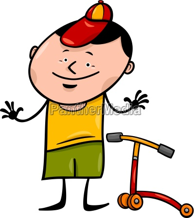 boy with scooter cartoon illustration
