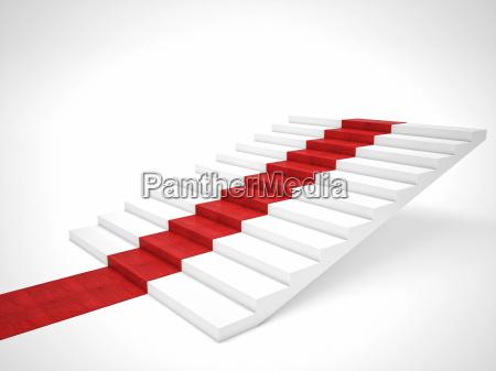 treppenaufflug auf roter teppich