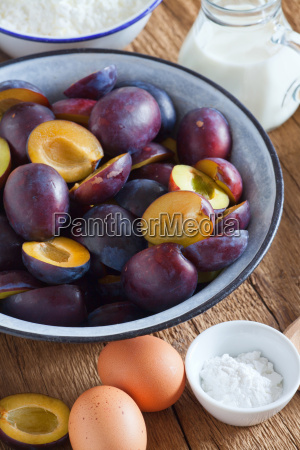 fresh plums eggs and other baking