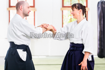 teachers and students fighting in aikido