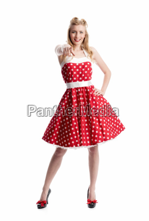 jubilant woman in rockabilly style