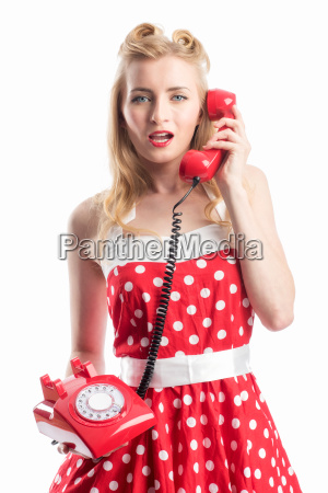 pinup girl is on the phone